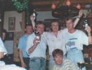 Team Flowershop met Peter Visser, Tonnie Heinsdijk , Theo Meeuwessen en liggend Marcel de Keijzer